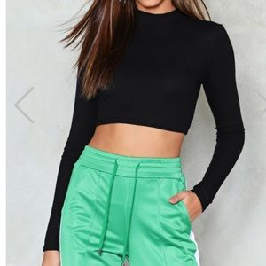 NWT Turtle Neck Cotton Ribbed Crop Top